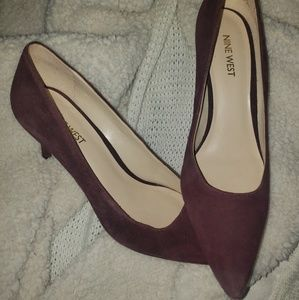 Nine West Maroon Suede Pointed Toe Kitten Heels